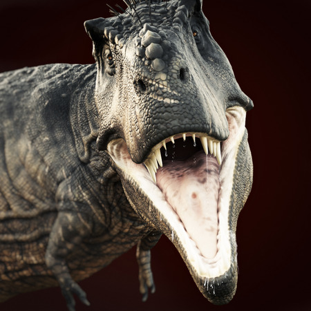 jaw: A Tyrannosaurus Rex attack on a dark background . 3d rendering