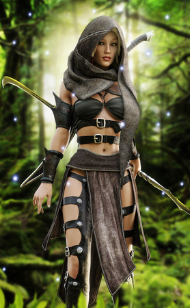 Mysterious wood elf warrior in a mystical forest setting. Fantasy 3d rendering Imagens