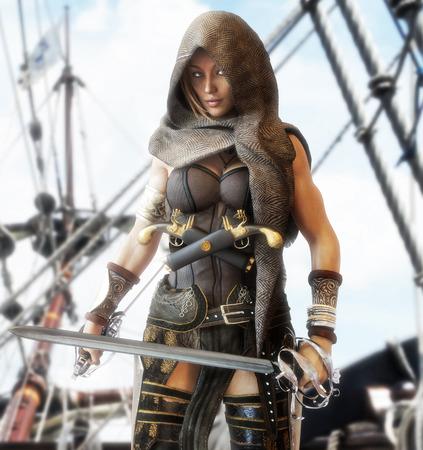 Mysterieuze piraten vrouwelijke staande op het dek van een schip met duel machetes in de hand. 3D-rendering
