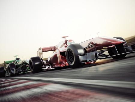 모터 스포츠 경쟁 팀 경주. 빠르게 움직이는 경주 용 자동차가 트랙을 경주합니다. 3d 렌더링입니다. 텍스트 또는 복사 공간을위한 공간