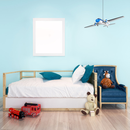 Mock up poster frame in toddler boy room. 3D render, 3D illustration with room for text or copy space.