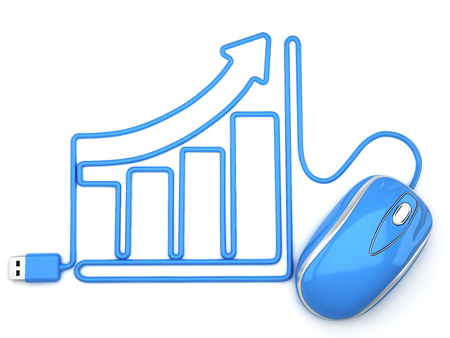 Building and growing your online business or stocks concept.Blue computer mouse in the shape of a growth bar graph. 3d rendering