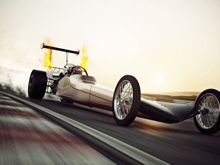 Dragster racing down the track with burnout. 3d rendering with room for text or copy space 스톡 콘텐츠