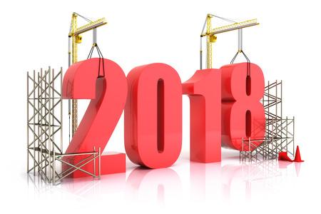 Jaar 2018 de groei, de bouw, de verbetering in het bedrijfsleven of in het algemeen begrip in het jaar 2018, 3D-rendering op een witte achtergrond