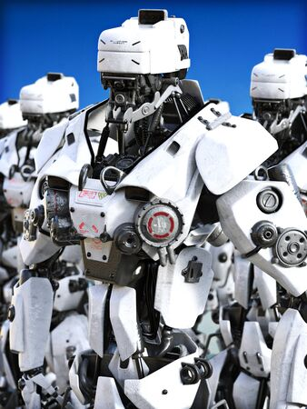 Futuristic Mechanized robots standing ready. 3d rendering illustration