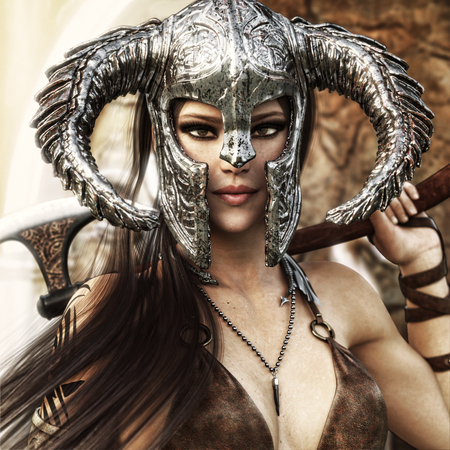Beautiful and deadly fantasy warrior female wearing a traditional barbarian style costume. 3d rendering Stock Photo