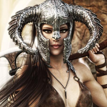 Schöne und tödliche Fantasie Krieger Frau, die ein traditionelles barbarisches Stil Kostüm trägt. 3D-Rendering