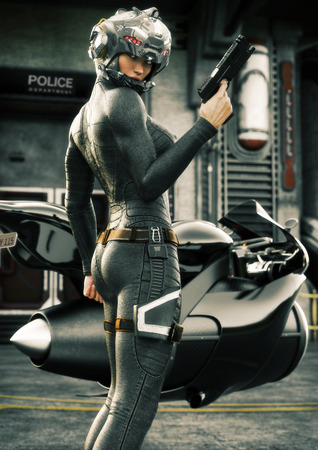 Science Fiction female police officer posing in front of her jet bike ,wearing helmet and uniform with police station in background. 3d rendering illustration Foto de archivo