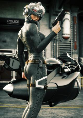 Science Fiction vrouwelijke politieagent poseren voor haar jet fiets, dragen helm en uniform met politiebureau op de achtergrond. 3D-rendering afbeelding