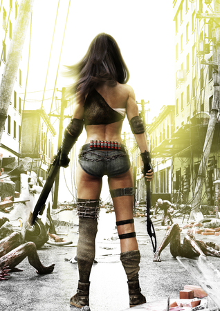 Training Day, Zombies advancing on a fully prepared Post Apocalyptic fearless female with a ruined city background. 3d rendering illustration.