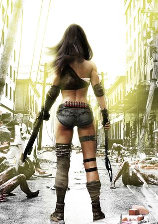 Training Day, Zombies Fortschritte auf eine vollständig vorbereitete Post Apokalyptische furchtlose Frau mit einem ruinierten Stadt Hintergrund. 3D-Rendering-Abbildung.
