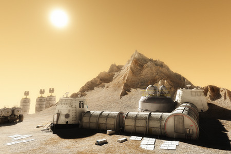 Habitat settlement research and living quarters on the desolate planet of Mars. 3d rendering illustration