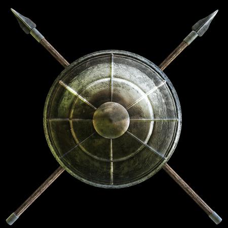 Spartan Schild mit Kreuz Speere Symbol auf schwarzem Hintergrund. 3D-Rendering-Abbildung