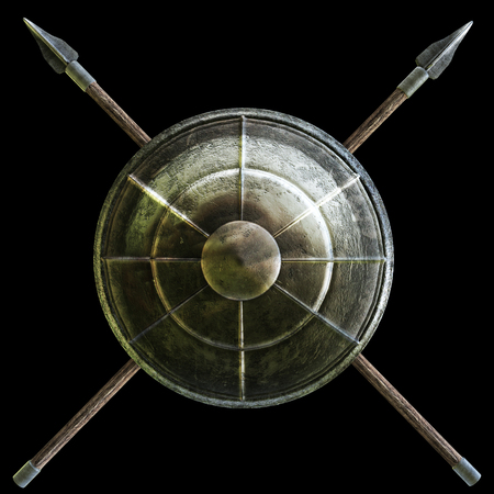 roman soldier: Spartan shield with cross spears symbol on a black background. 3d rendering illustration Stock Photo
