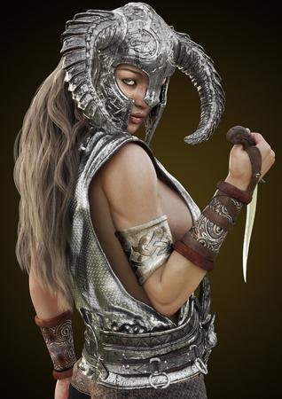 ファンタジー ルージュの戦士の女性ヘルメットとグラデーションの背景に短剣でポーズします。3 d レンダリング図。