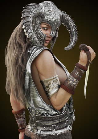 Fantasy rouge warrior female posing with helmet and dagger on a gradient background. 3d rendering illustration.