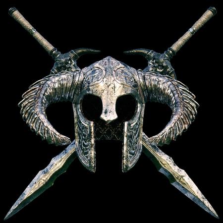 黒の背景に剣デザイン クロスとファンタジー ヘルメット。3 d レンダリング図。 写真素材