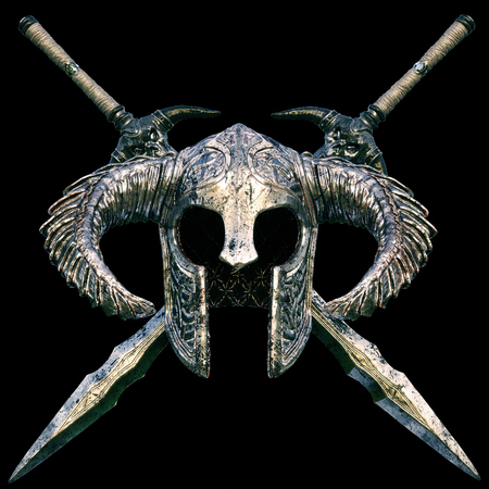 warriors: Fantasy helmet with cross swords design on a black background. 3d rendering illustration.