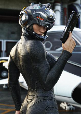 공상 과학 소설 여성 파일럿 포즈, 입고 헬멧 및 우주선 임무에서 백그라운드에서 반환하는 유니폼을 입고. 3d 렌더링 일러스트 레이션
