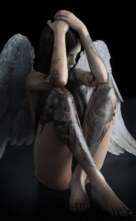 Gefallener Engel. Junge weibliche, die traurig, depressiv oder fühlt hat eine Sucht wie das Licht der Hoffnung auf ihr Konzept 3D-Rendering gegossen