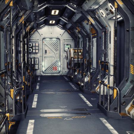 Futuristisches Metall Sci-Fi Korridortunnel oder Schiffsinnenraum. 3D-Rendering-Abbildung. 3d render Standard-Bild