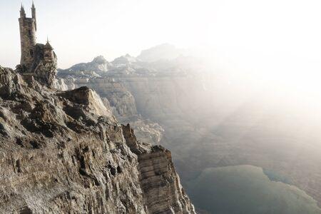 ウィザードは、湖を見下ろす山の端の上の高を塔します。ファンタジー概念 3 d レンダリング図。3 d のレンダリング