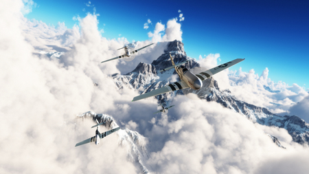 Flug der Mustangs. P51 Mustangs kehren nach Hause von einer Mission hoch über den Wolken Hochauflösende 3D-Rendering