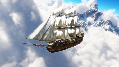 Fantasy concept of a pirate ship sailing through the clouds with snow cap mountains in background. 3d rendering illustration