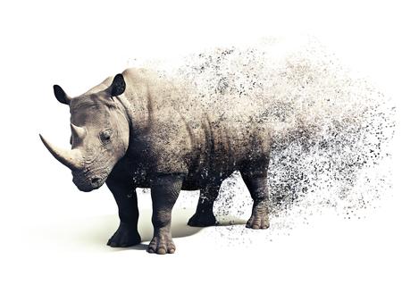 Rhinoceros op een witte achtergrond met een dispersie abstract effect. 3D-rendering Stockfoto