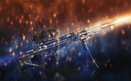 Scharfschützengewehr mit Bi-Pod und getarnt Umfang auf einem schwarzen Hintergrund mit abstrakten Lichteffekte.3d Rendering