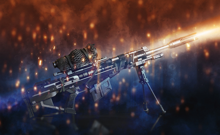 lighting background: Sniper rifle with bi-pod and camouflaged scope on a black background with abstract lighting effects.3d rendering Stock Photo