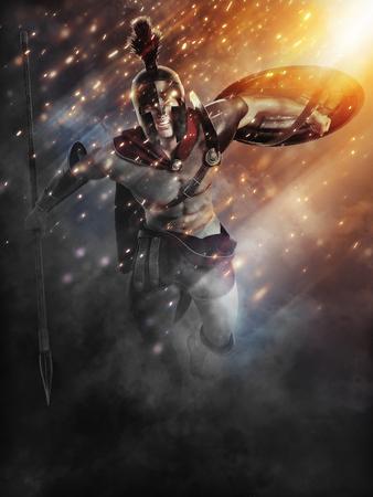 Spartanische Ladung mit abstrakten Lichteffekten. 3D-Rendering