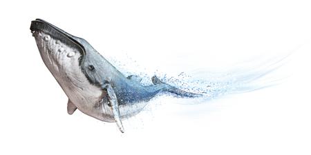 Humpback Whale op een witte achtergrond. Dispersie abstracte golf effect 3D-weergave Stockfoto