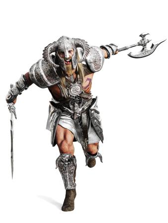 Heftiger gepanzerter barbarischer Krieger, der in den Kampf auf einem isolierten weißen Hintergrund läuft. 3D-Rendering-Abbildung