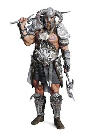 野蛮な戦士の分離の白い背景にポーズを装甲激しい立っています。3 d レンダリング図 写真素材