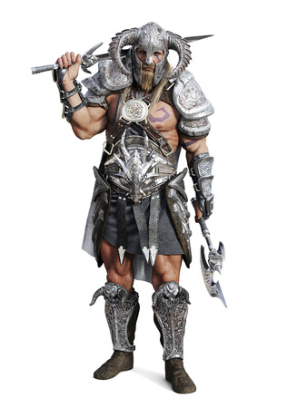 white background: Standing fierce armored barbarian warrior posing on an isolated white background. 3d rendering illustration Stock Photo