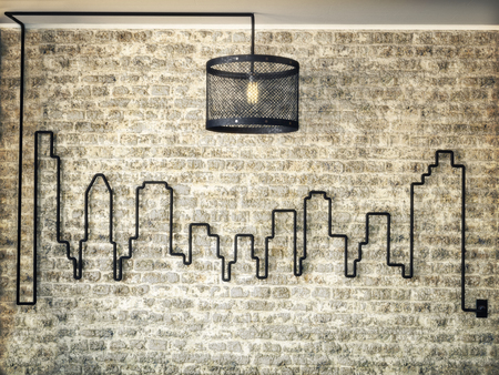 building wall: Rustic light kit accented wall of a city skyline on a brick wall background. 3d rendering illustration.