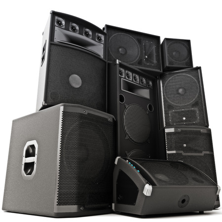 music: Group of speakers ,Powerful ,loud or abused concept. 3d rendering illustration