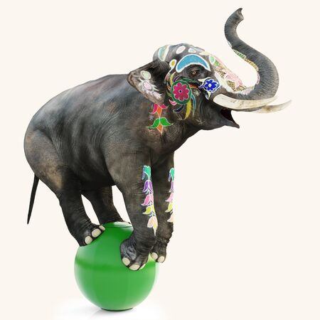Colorful decorated artistic circus elephant doing a balancing act on a green ball with a isolated white background. 3d rendering illustration