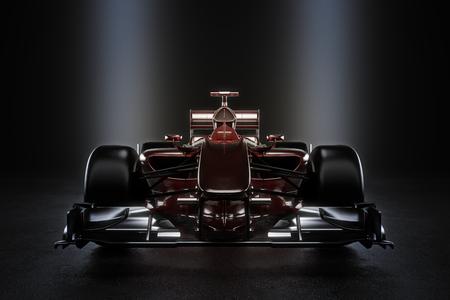 スタジオの照明が付いている車をレーシング チームのモーター スポーツをなめらかな。3 d レンダリング図