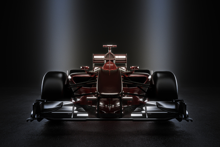 Sleek team motor sports racing car with studio lighting. 3d rendering illustration 스톡 콘텐츠