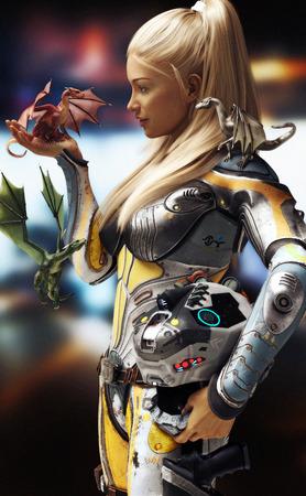 Sci-Fi trifft Fantasie. Blonde Frau in futuristischen Raum Rüstung mit Helm, begegnet drei Drachen. 3D-Rendering-Abbildung