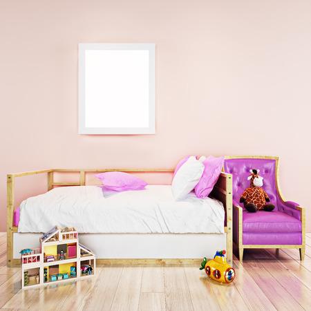 Mock up Poster Rahmen in Kleinkind Mädchen Zimmer. 3D render, 3D Abbildung mit Platz für Text oder Kopie Raum.