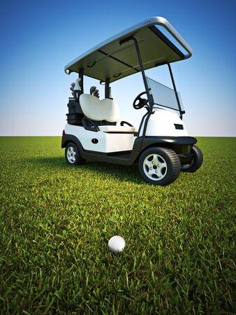 Golf-Szene mit Gold-Ball auf dem Fairway und Wagen im Hintergrund. 3D-Rendering-Abbildung
