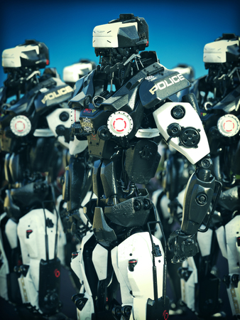 mechanized: Futuristic Mechanized Police robots standing ready. 3d rendering illustration