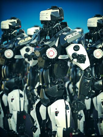 Futuristisch Mechanisierte Polizei Roboter steht bereit. 3D-Rendering-Abbildung