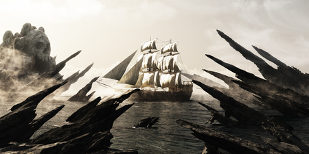 rendering: Search for skull island. Pirate or merchant sailing ship sailing toward a mysterious foggy skull shaped island. 3d rendering