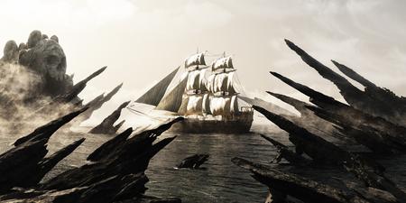 Suche nach schädelinsel Piraten oder Kaufmann Segelschiff Segeln in Richtung einer geheimnisvollen nebligen Schädel geformte Insel. 3D-Rendering Lizenzfreie Bilder