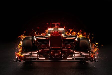 Hot Team Motorsport Rennwagen mit Studio Beleuchtung und Feuer Effekt. 3D-Rendering-Abbildung