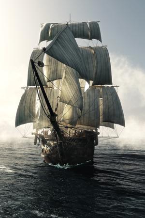 Frontansicht eines Piratenschiffs, der durch den Nebel durchdringt, der zur Kamera geleitet wird. 3D-Rendering